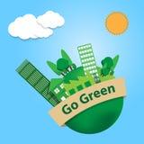 Il mondo con gli alberi città e la costruzione della fabbrica accendono insegna verde SK Immagine Stock