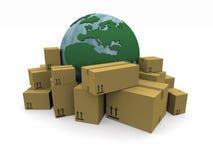 Il mondo con un mucchio dei pacchetti Immagini Stock