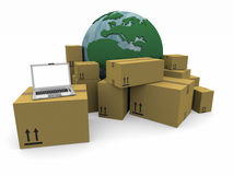 Il mondo con un mucchio dei pacchetti e di un computer portatile Immagine Stock