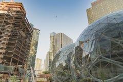 Il mondo di Amazon acquartiera le sfere con la nuova torre che va su Fotografia Stock Libera da Diritti