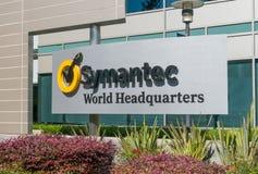 Il mondo di Symantec acquartiera la costruzione ed il logo Fotografie Stock