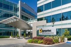 Il mondo di Symantec acquartiera la costruzione ed il logo Immagini Stock Libere da Diritti
