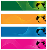 Il mondo e l'onda allineano la priorità bassa della bandiera di Web Fotografia Stock Libera da Diritti