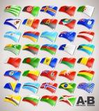 Il mondo inbandiera la raccolta da A alla B Fotografia Stock