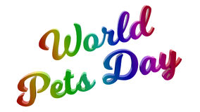 Il mondo Pets l'illustrazione calligrafica del testo resa 3D del giorno colorata con la pendenza dell'arcobaleno di RGB Fotografia Stock