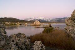 Il mono lago è pieno del tufo, le colonne create calcio che stanno fuori immagine stock libera da diritti