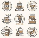 Il monogramma del coffeeshop del segno del caffè di progettazione del monogramma del distintivo di logo di vettore del caffè ed a royalty illustrazione gratis