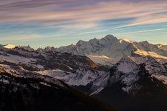 Il Monte Bianco al tramonto nelle alpi francesi Immagine Stock Libera da Diritti