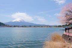 Il monte Fuji dal lago Kawaguchiko con il fiore e le foglie di ciliegia Fotografia Stock Libera da Diritti
