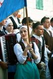 Il Montenegro, Castelnuovo - 28/05/2016: Membri dell'insieme Rakalj di folclore da Rakalj, Croazia fotografia stock