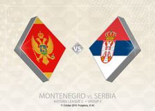Il Montenegro contro la Serbia, lega C, gruppo 4 Competi di calcio di Europa illustrazione di stock