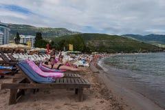 Il Montenegro, spiaggia di Budua, giugno 2014 Immagine Stock Libera da Diritti
