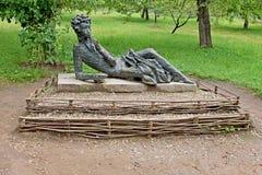 Il monumento ad Alexander Pushkin nella proprietà Mikhailovskoye Fotografia Stock Libera da Diritti