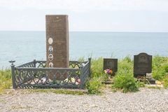 Il monumento alla squadra degli aerei Yak-40 è caduto nel 1976 fuori dall'isola di Utrish Immagine Stock