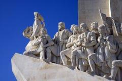 Il monumento alle scoperte Lisbona Portogallo, il Tago, architettura, calcare del calcestruzzo della caravella della scultura Fotografie Stock Libere da Diritti
