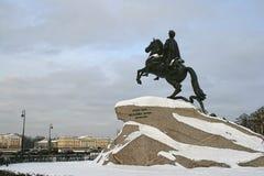 Il monumento bronzeo del cavallerizzo. San Pietroburgo Fotografia Stock Libera da Diritti