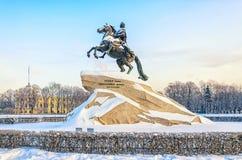 Il monumento bronzeo del cavallerizzo sul quadrato del senato Fotografia Stock Libera da Diritti