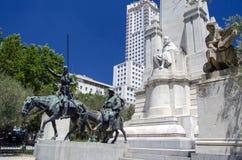 Il monumento di Cervantes a Madrid Fotografia Stock Libera da Diritti