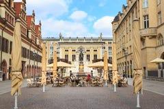 Il monumento di Goethe di Lipsia Fotografia Stock
