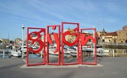 Il monumento ha chiamato Letronas a Gijon, Spagna Immagine Stock