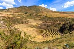 Il Moray circonda, sito agriciltural inca storico a forma di rotondo sopra fotografia stock