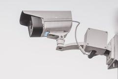 Il mornitor all'aperto del CCTV di sicurezza con fondo bianco Fotografia Stock
