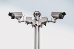 Il mornitor all'aperto del CCTV di sicurezza con fondo bianco Immagini Stock Libere da Diritti