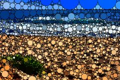 Il mosaico ha piastrellato la scena della spiaggia fotografia stock libera da diritti