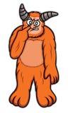 Il mostro arancio ha messo il dito sul suo fumetto del naso Fotografia Stock