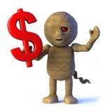 il mostro egiziano della mummia 3d ha simbolo del dollaro americano illustrazione vettoriale