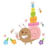 Il mostro pazzo della lumaca invia la carta di regalo Immagini Stock