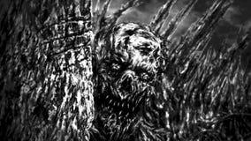 Il mostro sbircia fuori da dietro la parete e sembra l'animazione terrificante illustrazione di stock