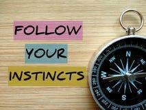 Il ` motivazionale di citazione segue il vostro ` di istinti immagini stock