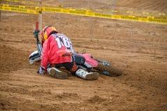 Il motociclista è caduto Immagine Stock Libera da Diritti