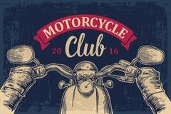 Il motociclista che conduce un motociclo guida Viaggio stradale illustrazione di stock