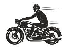 Il motociclista guida un retro motociclo, siluetta Motorsport, concetto della motocicletta Illustrazione di vettore royalty illustrazione gratis