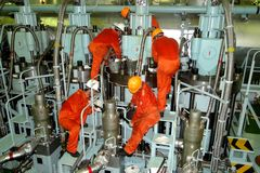 Il motore combinato VLCC eccellente dell'autocisterna, è l'unità motrice della nave immagine stock libera da diritti