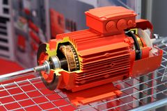 Il motore elettrico rosso fotografia stock libera da diritti