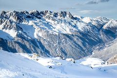 Il Mountain View dalla stazione del Aiguille Fotografia Stock