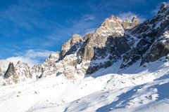 Il Mountain View dalla stazione di Aiguille du Fotografie Stock