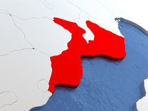 Il Mozambico sul globo Fotografie Stock Libere da Diritti