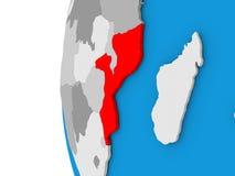 Il Mozambico sul globo Fotografie Stock