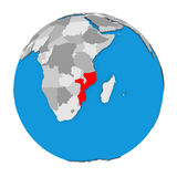 Il Mozambico sul globo Fotografia Stock Libera da Diritti