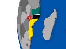 Il Mozambico sul globo Immagini Stock