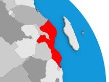 Il Mozambico sul globo Fotografia Stock