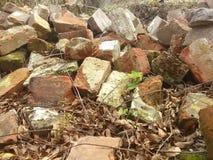 Il mucchio dei mattoni e la pietra sono resti finale dalla casa sulla via New Orleans di Decatur immagini stock