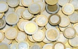 Il mucchio dell'euro conia i soldi Fotografie Stock