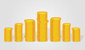 Il mucchio della pila di valuta conia 3D illustrato Fotografia Stock