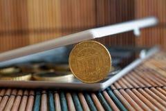 Il mucchio di euro monete in specchio riflette le bugie del portafoglio sulla denominazione di bambù di legno del fondo della tav Fotografie Stock