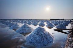 Il mucchio di sale marino nell'azienda agricola originale dei prodotti del sale fa da naturale Immagini Stock Libere da Diritti